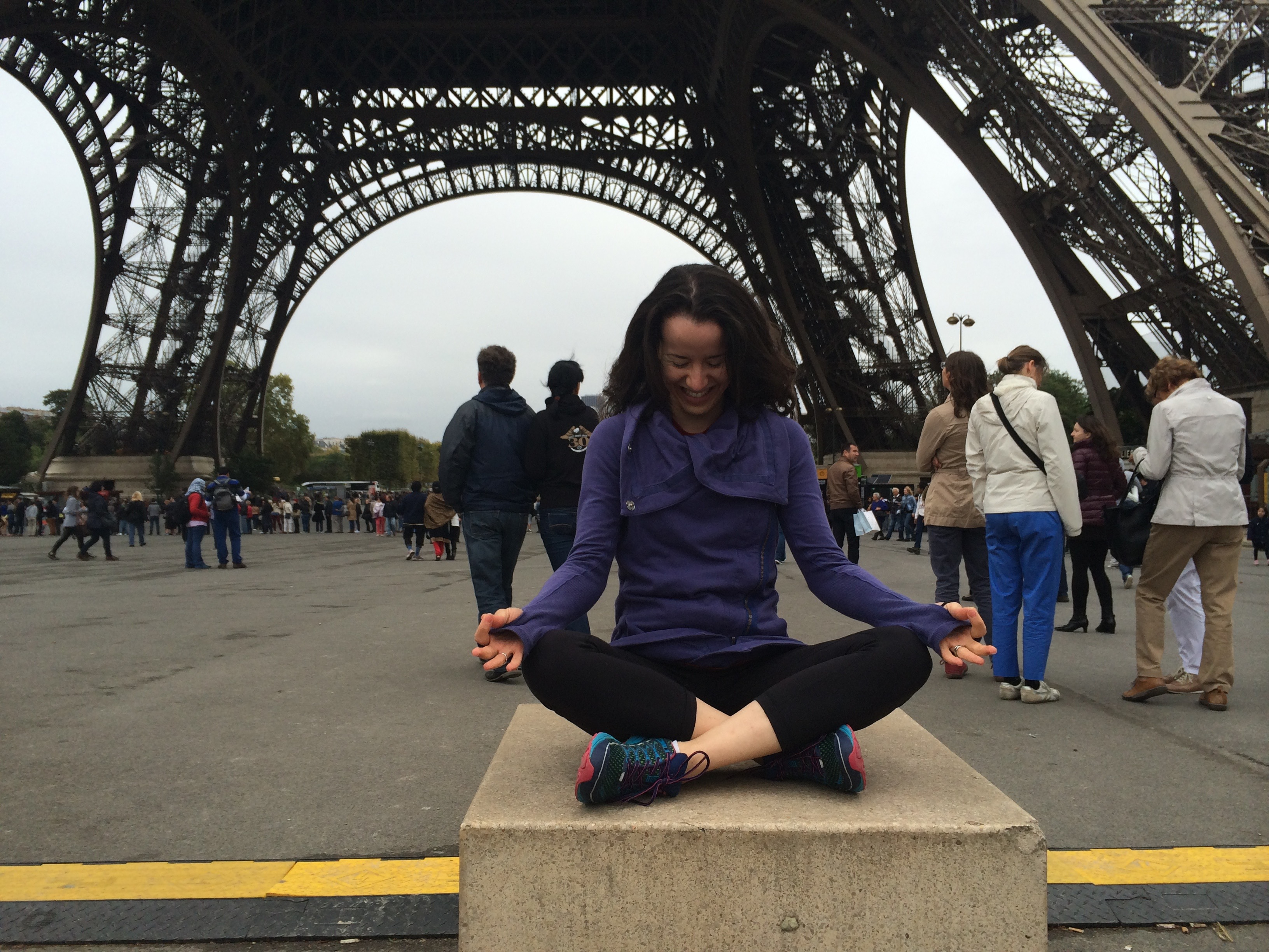 Paris Eiffel Tower meditation laugh